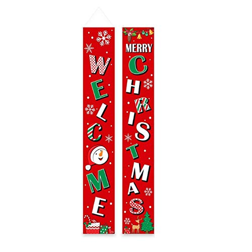 Monland Christmas Couplet Holiday Decoration Door Couplet Banner Christmas Outdoor Hanging Flag