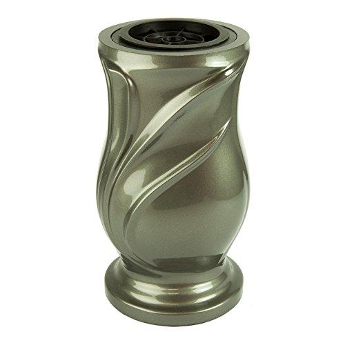 Vaso per Tomba Linaria Resina Sintetica Laccato Grafite 15x28cm
