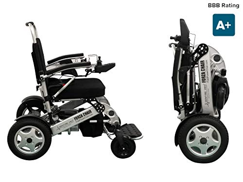 Sentire Med Forza FCX Deluxe Fold Foldable Power Compact Mobility Aid Wheel Chair, Lightweight Folding Carry Electric Wheelchair, Motorized Wheelchair, Powerful Dual Motor Wheelchair