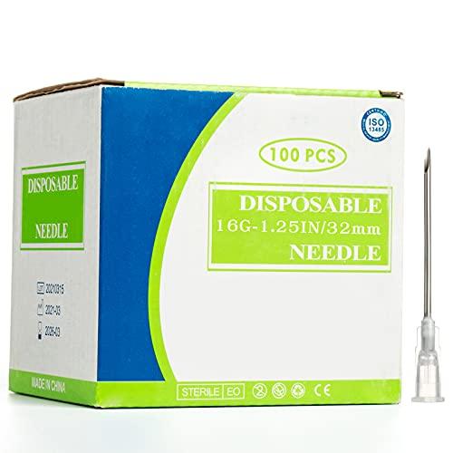 16G Edelstahl Abgabe Tube, 100 Stück 32mm zum Nachfüllen von Flüssigkeit,Kleber,Tinten (16G)