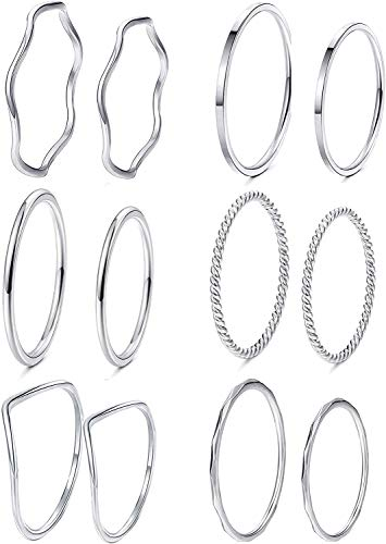 Milacolato 12Pcs Simple Knuckle Midi Finger Rings Set for Women Dainty Stacking Ring Minimalist Jewelry for Women.J1/2,L1/2