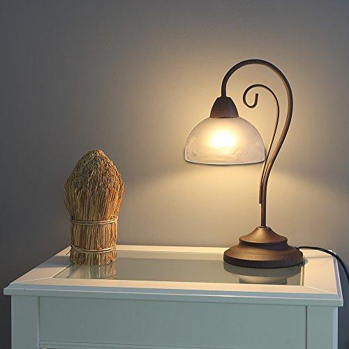 Tischleuchte im Landhausstil   Tischlampe rostfarbend mit weißem Alabasterglas   Leuchte 1xE14 max. 40W   Lampe + Gratis LED Taschenlampe