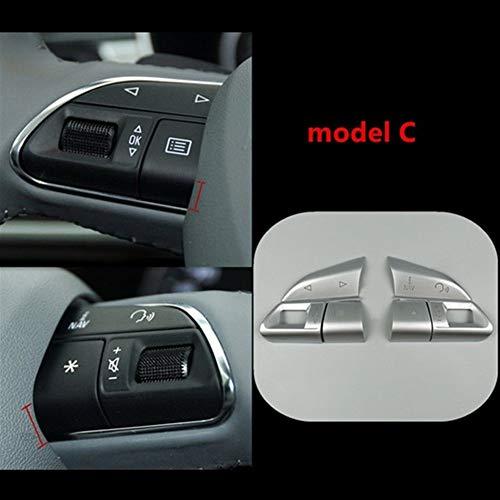 LuckyMAO Interior automotriz Chrome ABS Volante Botones de Las Lentejuelas Decoración Ajuste de la Cubierta for Audi A3 8V A4 B8 B9 Q3 Q5 A1 A5 A6 A7 Accesorios del Coche (Color Name : Model C)