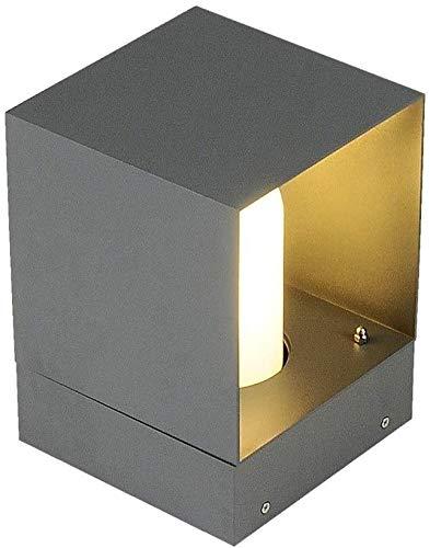 Luz de poste Cuadrado gris al aire libre lámpara de mesa moderna E27 Villa Columna de la lámpara del jardín postal Linterna césped IP55 a prueba de agua simple lámpara de pie mini lámpara de mesa for
