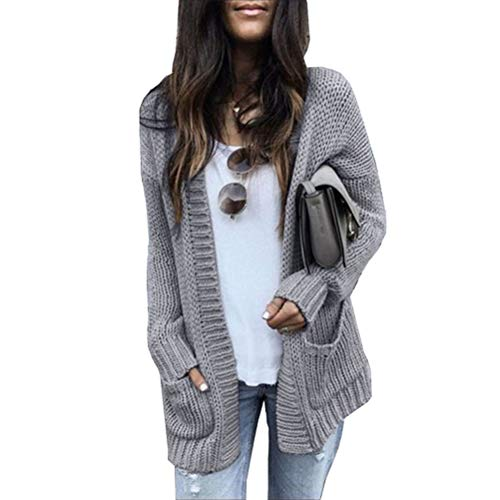 Eastery Pullover Dames Fashion gebreide jas Dames herfst winter lange gebreid Uni Blank Cardigan Sweater