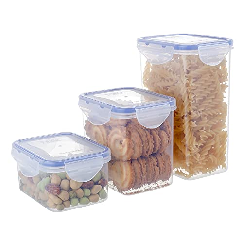 [3 Pack]Plastic Cereal Food Containers Storage Set,Airtight Canisters Square Food Storage Containers with Mixed Sizes,44oz/29.8oz/17oz