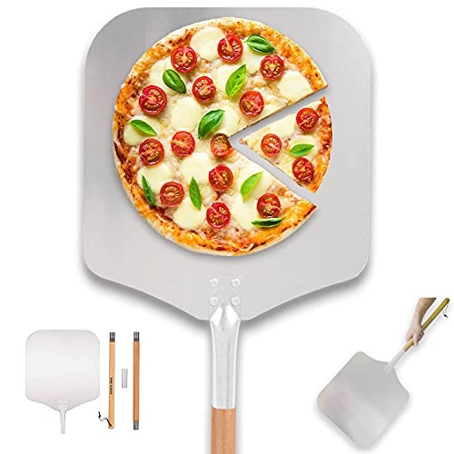 """Time Forest Large Pizza Peel 16 Inch X 14 Inch, Metal Pizza Paddle with Long Handle, 35""""-51"""" Long, Detachable and Adjustable Aluminum Pizza Spatula for Pizza Stone"""