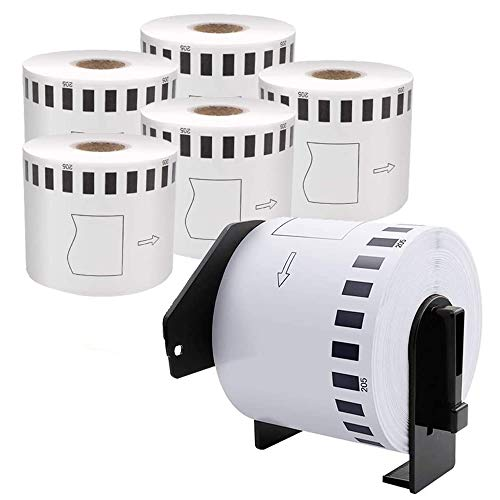 COLORWING Compatible Paper Labels Replacement for Brother DK-2205 Label Rolls Continuous Length 2.4 inch x 100 feet(62mm x 30.48m) for Brother QL-500 QL-570 QL-700W QL-800 QL-810W, 6 Rolls+1 Frame