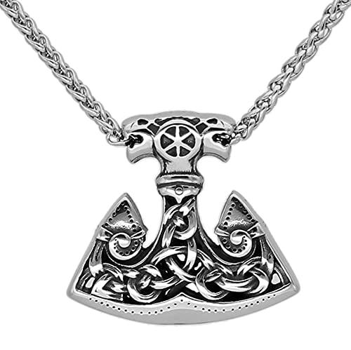 SioHopio Nórdico Viking Thor's Hammer 3D Collar de Acero Inoxidable Odin Rune Mjolnir para Hombres Joyería de la Vendimia Pendiente de Amuleto
