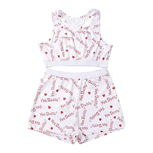 Women's Sexy 2 Piece Pjs Outfit Strap Crop Top Camisole Tank Shorts Bottom Pajamas Sets Sports Suit Summer Sleepwear(A-Yes Daddy-white, Medium)