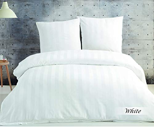 SALE AND MORE 3 TLG.Damast Mako Satin Bettwäsche Set | 5 cm Damast Streifen I Bettdeckenbezug mit Kopfkissenbezüge | Bettgarnitur | Baumwolle Bettbezug (Weiß, 220 cm x 240 cm)