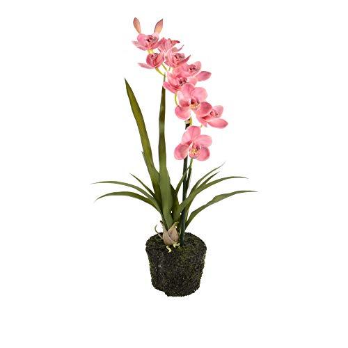 Onebox24 Künstliche Orchidee Cymbidium 1 Zweig 50-60cm Rosa Kunstorchidee Kunstblume