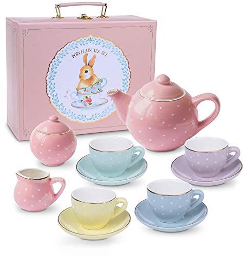 Jewelkeeper - Porzellan Teeservice für kleine Mädchen, Kindergeschirr Spielküche, 13-teilig - Pastell Polka Dot Design