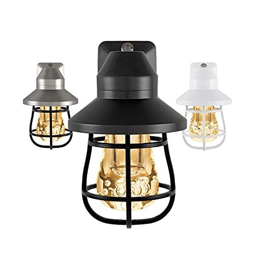 GE 38628 Vintage LED Night Light, Plug-in, Dusk-to-Dawn Sensor, Farmhouse, Rustic, Home Décor, UL-Certified, Ideal for Bedroom, Bathroom, Kitchen, Hallway, 1 Pack, Black