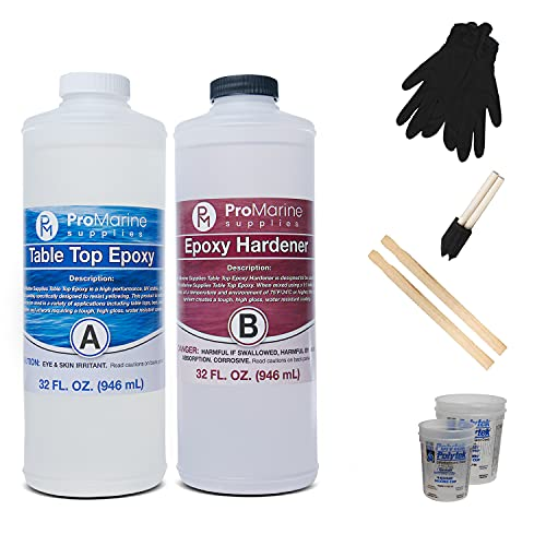 Pro Marine Supplies Crystal Clear Table Top Epoxy Resin & Hardener (2-Part, 2 Quart Combined Kit) with Cups, Brushes, Gloves, Sticks   UV-Resistant Gloss Coating for DIY Bar, Countertops, Woodworking