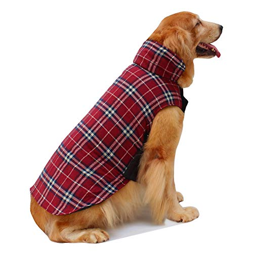 Hiado Dog Coat Clothes with Harness Hole British Style for Small Medium and Large Dogs Winter Cold Weather Red XXL