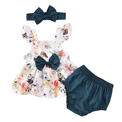 Taurner 3PC Vestido De Verano Sin Mangas con Lazo para NiñA Falda de lazo con estampado de floress De AlgodóN Top Casual+Pantalones Cortos Lindo Traje Regalo De CumpleañOs (Blanco, 100)