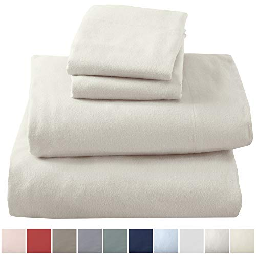 Great Bay Home Extra Soft 100% Turkish Cotton Flannel Sheet Set. Warm, Cozy, Lightweight, Luxury Winter Bed Sheets in Solid Colors. Nordic Collection (Full, Pristine Ivory)