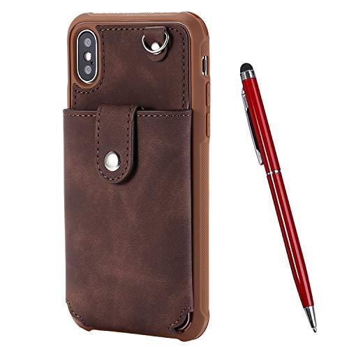 TOUCASA für iPhone XS/iPhone X Hülle, Handyhülle Brieftasche PU Leder Flip [Mit Spiegeldesign] Case Magnetverschluss Handytasche Klapphülle Hülle für iPhone XS/iPhone X (5,8 Zoll) (Braun)