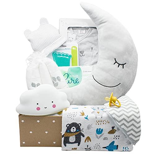 Kelzia Canastilla para Bebé Recién Nacido - Caja de Regalo de Bienvenida con Ropa de Algodón, Pañales Biodegradables, Peluche, Marco de Fotos y Más - Vegano, Algodón Hipoalergénico - Unisex (BOX2)