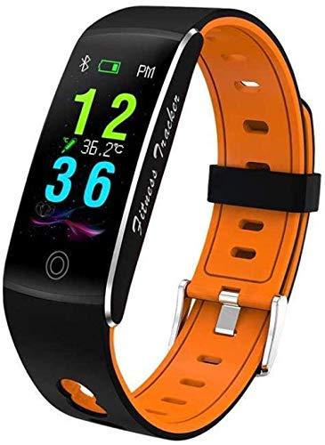 JIAJBG Moda Deportes Cuerpo Temperatura Pulsera Inteligente All-Tiempo Multi-Deportes Pulsera Impermeable Tarifa Sangre Oxygen Smart Monitoring Watch-Black Regalo de vacaciones/na