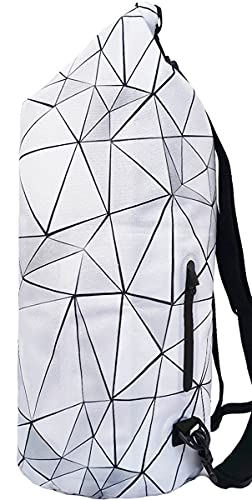 SNAILMAN Waterproof Dry Bag for Women Men, 20L Roll Top Lightweight Dry Storage Bag Backpack with Phone Zipper Pocket, Swimming, Boating, Kayaking, Camping and Beach (Geometry, 20L)