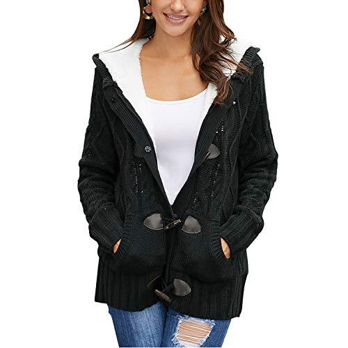 Syrads Femme Casual Cardigan Épais en Tricots Manteau Chaud Hiver Veste à Capuche Gilet Chandail