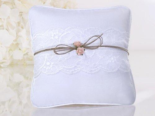 Ringkissen Weiß 16x16cm Apricot Röschen Spitze Hochzeitskissen Ring Kissen Juteband ring bearer pillow PKWM2