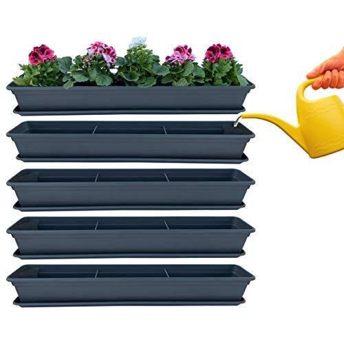 4er Blumenkasten Set Balkonkasten Pflanzkasten Anthrazit mit Bewässerungssystem und Balkonkasten Untersetzer 80cm