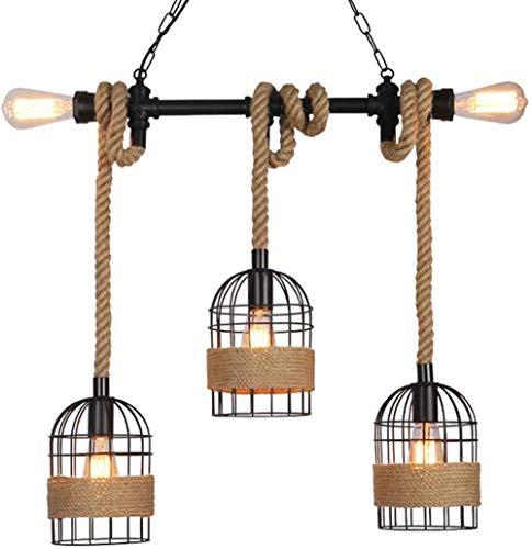 JUJ Vintage Retro Pendelleuchte Wasserrohrförmige E27 Lampe Industrielle Pendelleuchte Deckenleuchte Metall für Bar...