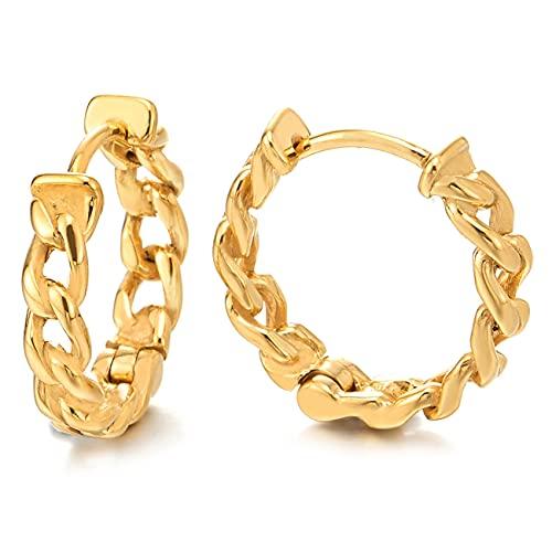 2 Color Oro Tribal Vendimia Cadena Barbada Guirnalda Pendientes del Aro, Pendientes para Hombres Mujer, Acero Inoxidable