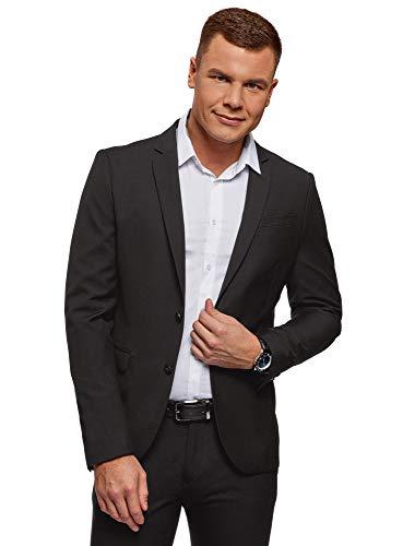 oodji Ultra Herren Taillierter Sakko Basic, Schwarz, 48