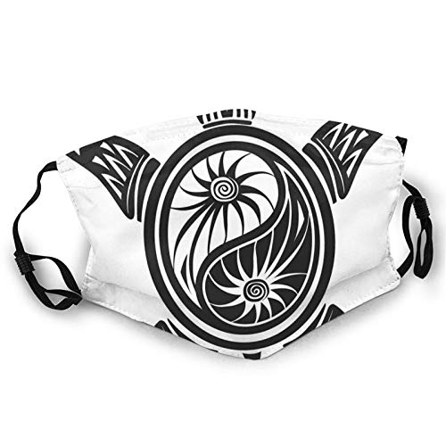 Cubierta facial cómoda a prueba de viento, esquema de mujer meditadora con diseño de mandala, decoraciones faciales impresas para unisex