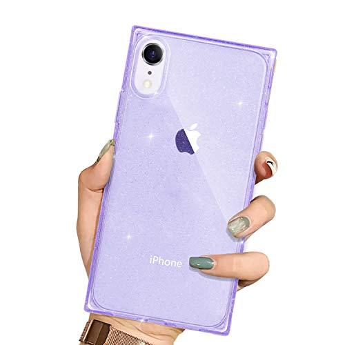 Niufoey - Funda para iPhone Xr cuadrada, transparente, con purpurina, protector de TPU suave y antigolpes, esquinas cuadradas, transparente para iPhone X de 15,5 cm (morado)