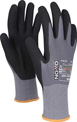 HandschuhMan. OX-ON Gants de travail flexibles en nitrile, qualité supérieure, taille 6-12, noir