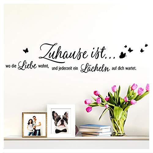 Wandaro Wandsticker Spruch Zuhause ist wo die Liebe wohnt | schwarz 80 x 17 cm | Wandaufkleber Flur Wandspruch Wohnzimmer Wandtattoo Aufkleber W3479