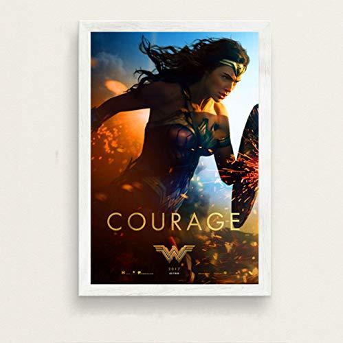 Fymm丶shop GAL Gadot Wonder Woman Hot Superhero Movie Art Seda Pintura sobre Lienzo Cartel De La Pared Decoración para El Hogar 40X60Cm
