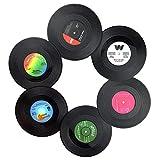 JUHONNZ Posavasos de Vinilo,6 PCS Retro CD Discos de Vinilo Posavasos Decorativoss Posavasos para Beber Café Cerveza Tazas de Té Bebidas,Regalo Ideal para Amigos (Diámetro 10,5 cm)