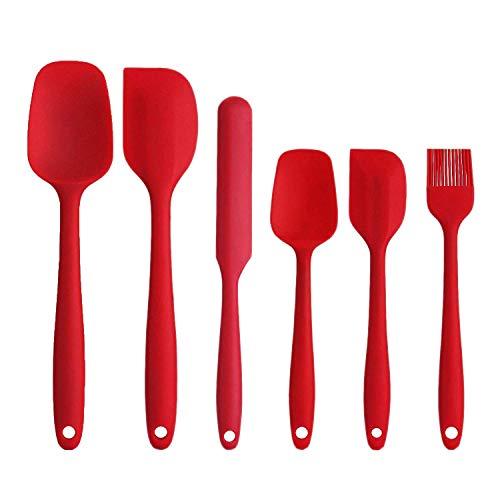 Gxhong Silikon-Spatel 6er-Set, Hitzebeständige Backspatel mit starkem Edelstahlkern, Antihaft-Küchenutensilien zum Kochen, Backen und Mischen (rot)