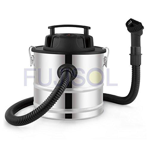 FUJISOL Aspiradora INOX de Cenizas Especial pellets Incluye Cepillo orientable Especial para Limpiar Las Paredes de Las Estufas. 1200w 18litros Sistema ciclónico.