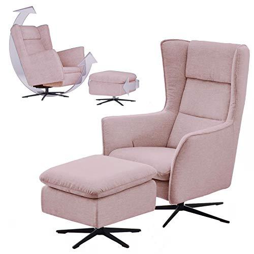 place to be. Moderner Ohrensessel mit Schaukelfunktion und manuell verstellbarem Rücken fürs Wohnzimmer mit Hocker rosa mit Fleckschutz