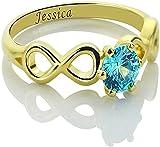 Anillo de plata de ley 925 Scott Naismith con doble piedra natal infinita, nombre personalizado, anillo de compromiso con piedra natal, nombre de amante grabado para mujer 9 Oro