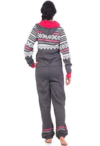 Loomiloo® Jumpsuit Onesie Overall als Freizeitanzug Hausanzug Trainingsanzug Pyjama für Damen und Herren (M/L, Dunkelgrau) - 3