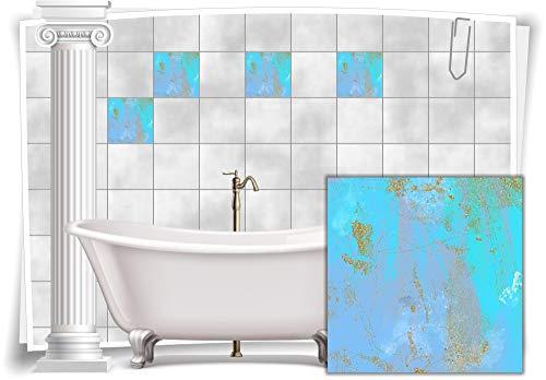 Medianlux Fliesenaufkleber Fliesen Aufkleber Vintage Nostalgie Retro Shabby Chic Blau Violett Küche Bad WC Deko, 12 Stück, 15x15cm