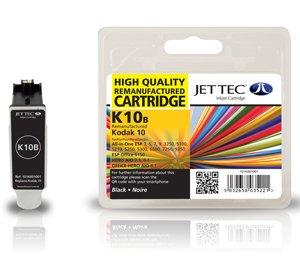 1 Jettec Kompatible Druckerpatrone Kodak 10B Schwarz - Ersatz für Easyshare 5100 5300 5500 5200 5000 ESP Office 6150 ESP3 ESP3250 ESP5 ESP5250 ESP7 ESP7250 ESP9 ESP9250 ESP5210 ESP5300 ESP5500 HERO 7.1 9.1 6.1 - Mit Chip