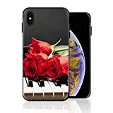 Silicone Case for iPhone Xs Max, Piano Rose Phone Case Full Body Protection Shockproof Anti-Scratch Drop Protection Cover