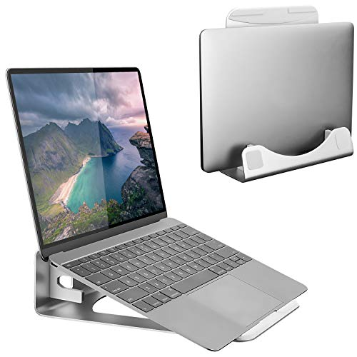 Mount-It! Tilted Laptop Stand and Riser Compatible with MacBook and Other Laptops, Aluminum Laptop Vertical Stand