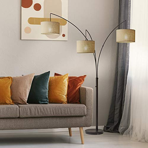 Arc Lamps for Living Room, Multi Head Tree Floor Lamp for Bedroom, 3 Lights Standing Lamps Hanging Over The Couch (Black)