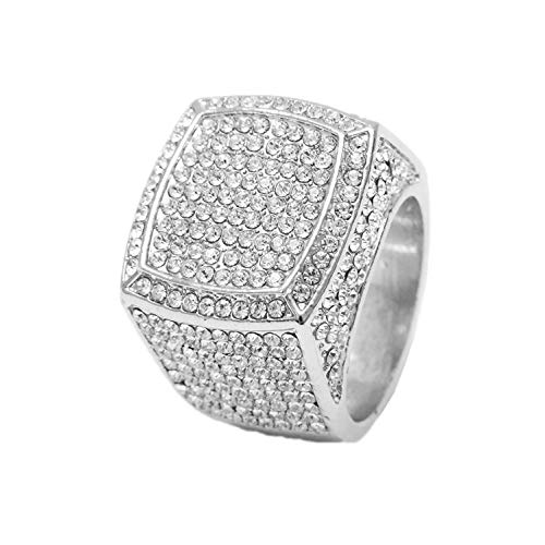 Charles Raymond Bling Bling Hip Hop Iced Out Luxury Men's Ring - 444 (SILVER, 12)
