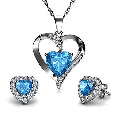 DEPHINI - Juego de collar y pendientes de corazón - Plata de ley 925 - Piedra natal - Pendientes y pendientes de cristal azul - Juego de joyería fina para mujer - circonita cúbica